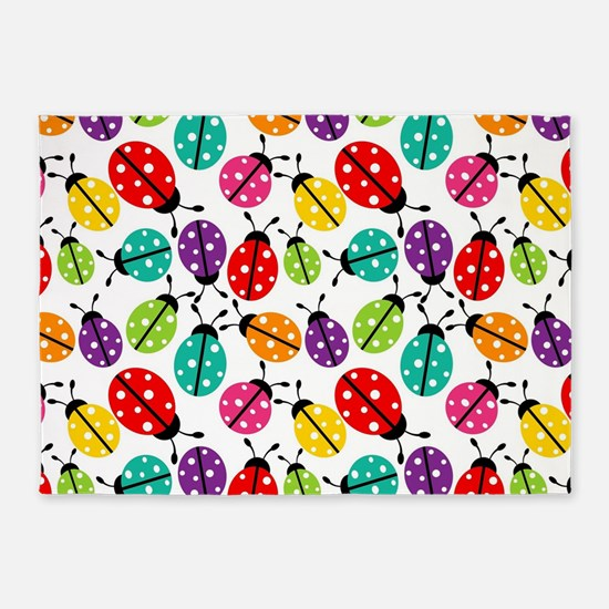 Lots of Crayon Colored Ladybugs 5'x7'Area Rug