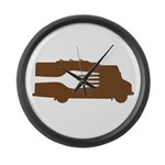 Food Truck: Side/Fork (Brown) Large Wall Clock