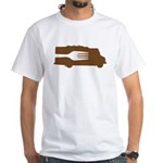 Food Truck: Side/Fork (Brown) White T-Shirt