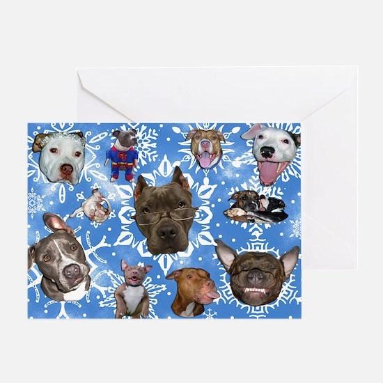 Pit Bull Snowflakes Greeting Card