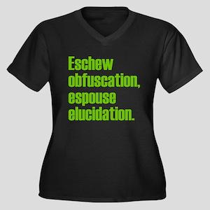 Eschew Obfuscation Women's Plus Size V-Neck Dark T