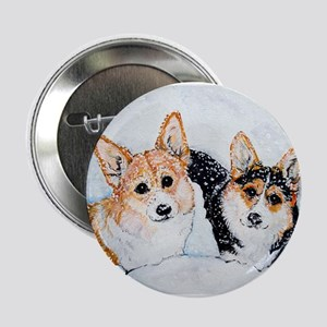 "Corgi Snow Dogs 2.25"" Button"