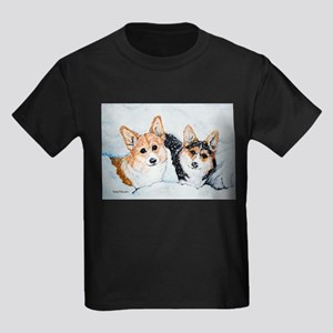 Corgi Snow Dogs Kids Dark T-Shirt