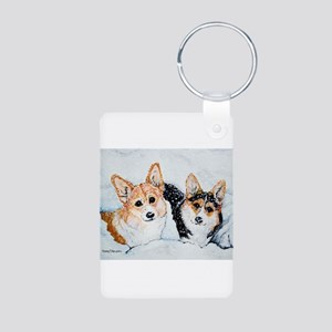 Corgi Snow Dogs Aluminum Photo Keychain