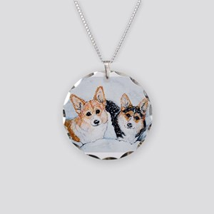 Corgi Snow Dogs Necklace Circle Charm