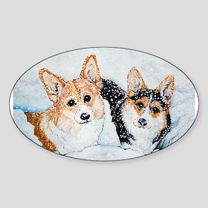 Corgi Snow Dogs Sticker (Oval)