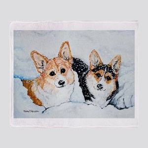 Corgi Snow Dogs Throw Blanket