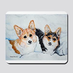 Corgi Snow Dogs Mousepad