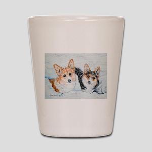 Corgi Snow Dogs Shot Glass
