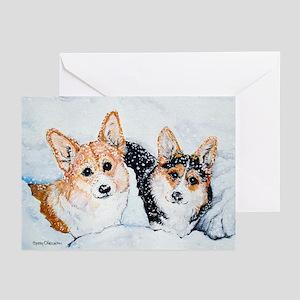 Corgi Snow Dogs Greeting Cards (Pk of 10)