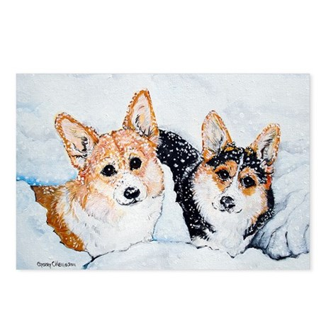 Corgi Snow Dogs Postcards (Package of 8)