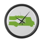 Food Truck: Side/Fork (Green) Large Wall Clock