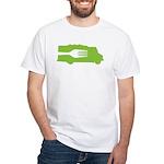 Food Truck: Side/Fork (Green) White T-Shirt