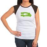 Food Truck: Side/Fork (Green) Women's Cap Sleeve T