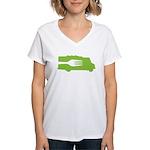 Food Truck: Side/Fork (Green) Women's V-Neck T-Shi