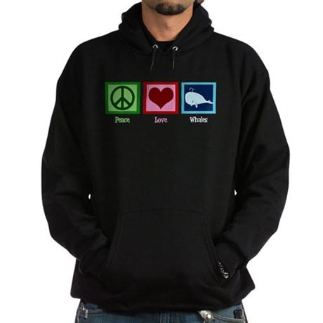 Peace Love Whales Hoodie (dark)