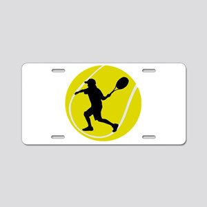 Silhouette Tennis Player Gift Aluminum License Pla