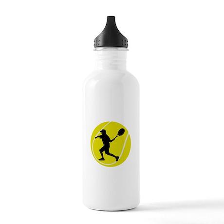 Silhouette Tennis Player Gift Stainless Water Bott