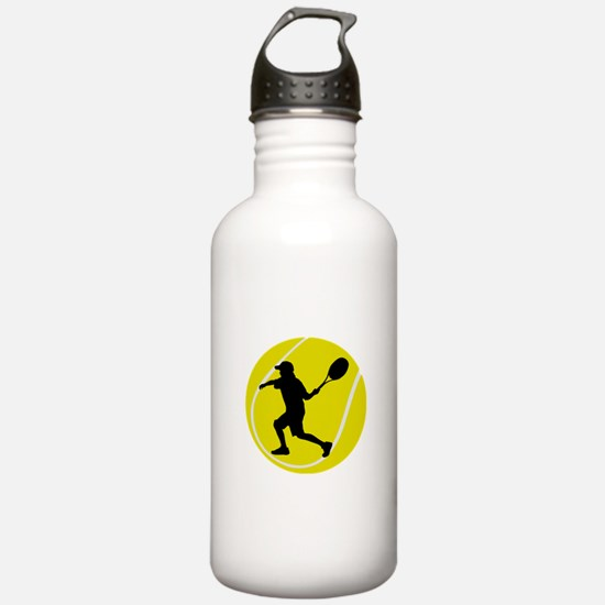 Silhouette Tennis Player Gift Water Bottle