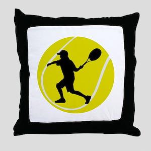 Silhouette Tennis Player Gift Throw Pillow