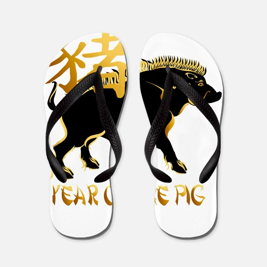Year Of The Pig-Black Boar Sy Flip Flops