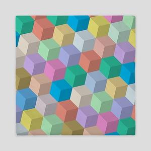 Pastel Colored Perspective Cubes Queen Duvet