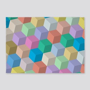 Pastel Colored Perspective Cubes 5'x7'Area Rug