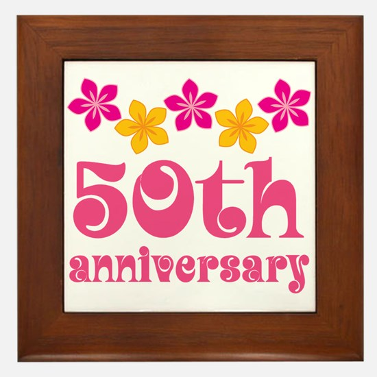 50th Anniversary Tropical Gift Framed Tile