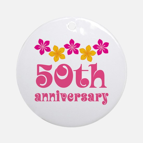 50th Anniversary Tropical Gift Ornament (Round)