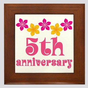 5th Anniversary Tropical Gift Framed Tile