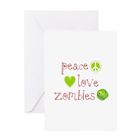 Peace, Love and Zombies Greeting Card