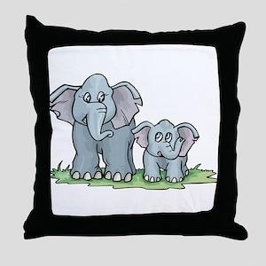 Elephant Duo Throw Pillow