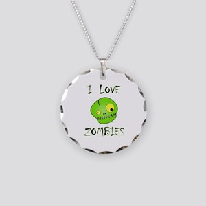 I Love Zombies Necklace Circle Charm