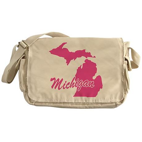 Pink Michigan Messenger Bag