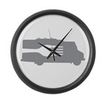 Food Truck: Side/Fork (Gray) Large Wall Clock