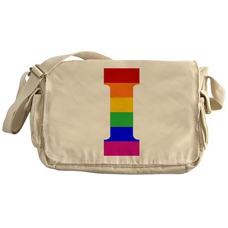 Rainbow Letter I Messenger Bag