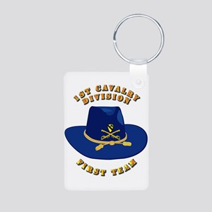 Army - 1st Cav - 1st Team Aluminum Photo Keychain