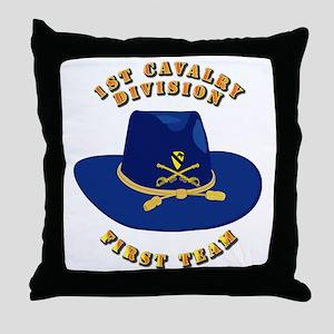 Army - 1st Cav - 1st Team Throw Pillow