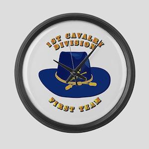 Army - 1st Cav - 1st Team Large Wall Clock