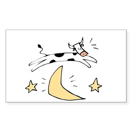 Cow jumps over the moon Rectangle Sticker