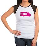 Food Truck: Side/Fork (Pink) Women's Cap Sleeve T-