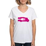 Food Truck: Side/Fork (Pink) Women's V-Neck T-Shir