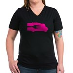 Food Truck: Side/Fork (Pink) Women's V-Neck Dark T