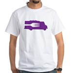 Food Truck: Side/Fork (Purple) White T-Shirt