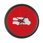 Food Truck: Side/Fork (Red) Large Wall Clock