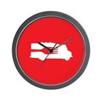 Food Truck: Side/Fork (Red) Wall Clock