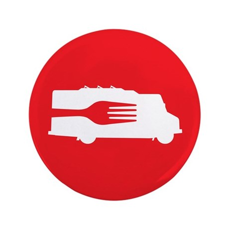 "Food Truck: Side/Fork (Red) 3.5"" Button (100 pack)"