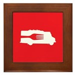 Food Truck: Side/Fork (Red) Framed Tile