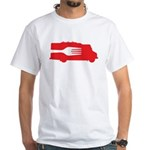 Food Truck: Side/Fork (Red) White T-Shirt