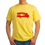 Food Truck: Side/Fork (Red) Yellow T-Shirt